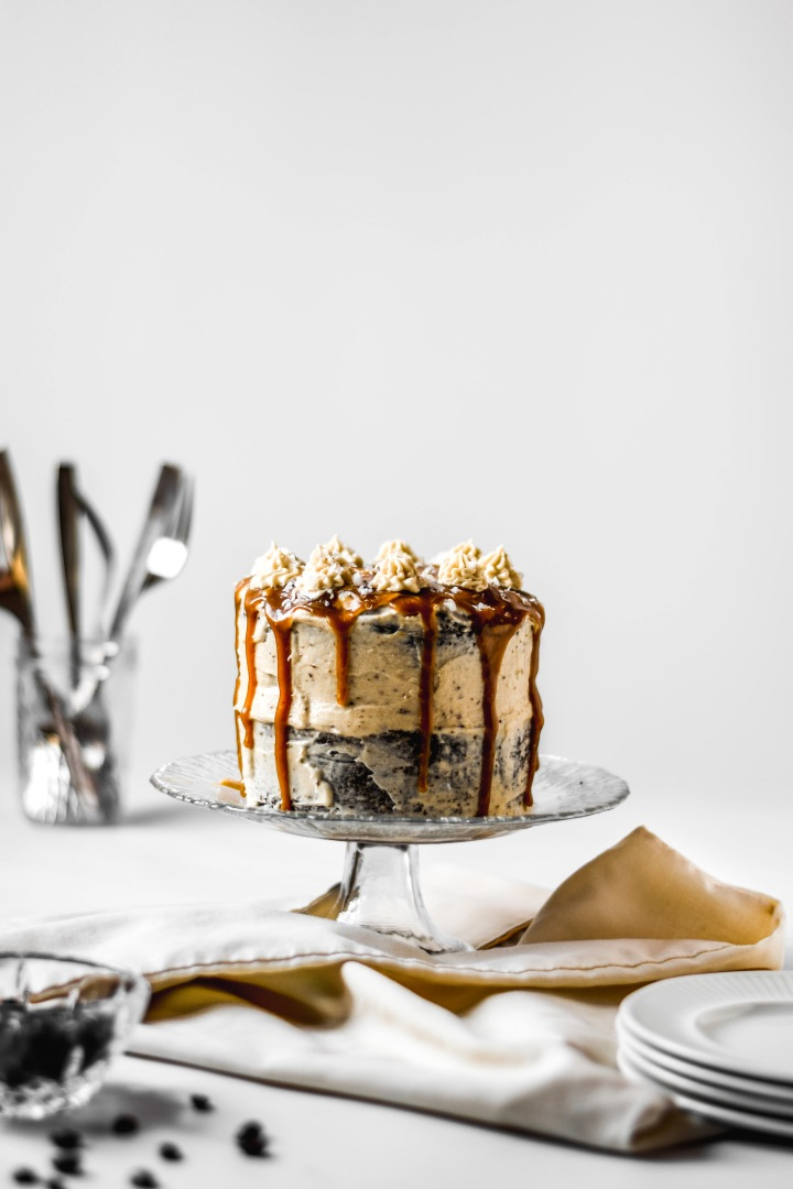 Salted Caramel Latte Cake (Gluten Free and Vegan)
